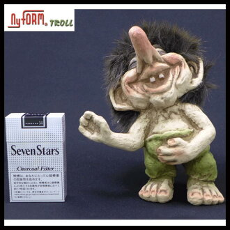 NYFORM and adorable! Super rare! Scandinavian gadgets Europe producing toy European antique Troll Doll / spirit / fairy made in Norway handmade doll gadgets TROLL (smiley)