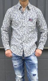 カプリ(capri) メンズ スプリングサマーシャツ 長袖シャツ錨柄 イカリマーク シャツブラウスCAPRI-8231-1018【ネイビー】