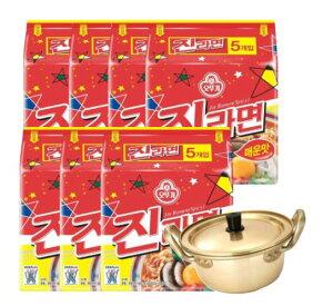 (送料無料) ジンラーメン(辛口)1BOX35個+韓国ラーメン専用鍋付き(14cm)