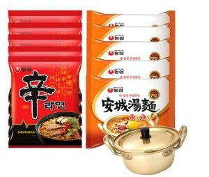 辛ラーメン5袋+アンソンタン?5袋+韓国ラーメン専用鍋付き(14cm)
