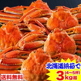 北海道紋別浜茹で ずわい蟹姿 3kg超(4〜5杯)
