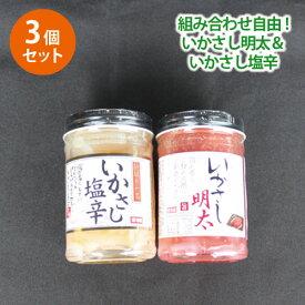 選べるいかさし明太&いかさし塩辛 3個セット 【送料無料】 ポイント消化 ■選べるいかさし*3★