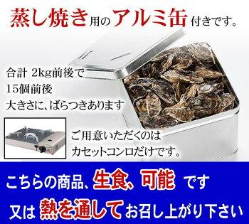(送料無料)生牡蠣貝のがんがん蒸し2kg前後(2年貝)北海道サロマ湖産の殻付きかき貝。自宅で蒸し焼きのカキが食べられます。蒸し牡蠣用の缶付き。北海道グルメ(ギフト)【RCP】