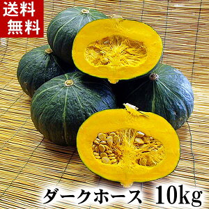 (送料無料)北海道産カボチャ ダークホース 10kg前後(5〜7玉入り)粉質でホクホクな南瓜。てんぷらやかぼちゃスープ、かぼちゃの煮物など、様々料理にご利用できる緑黄色野菜です。北海道