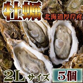 年内発送 ギフト 牡蠣 かき お試し 北海道 厚岸 殻付き 活牡蠣 2Lサイズ(5個入) 冷蔵 生牡蠣 マルえもん ギフト 【#元気いただきますプロジェクト】