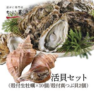 年内発送 ギフト 送料無料 牡蠣 かき ツブ 貝 活貝セット 殻付き牡蠣10個と真つぶ貝2個のセット 冷蔵 北海道 厚岸 生牡蠣 マルえもん ギフト 内祝い お返し