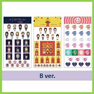 【K-POP・韓流】【ゆうメール発送】TWICEシール3枚セットバージョン選択/トゥワイスステッカー/おまけ:生写真(7070180226-1)