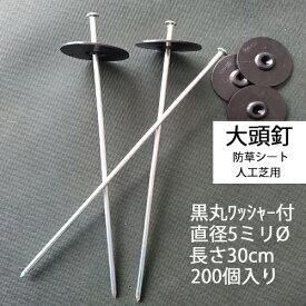 黒丸ワッシャー付き大頭釘 長さ30cm 太さ5mm 200個入/CS