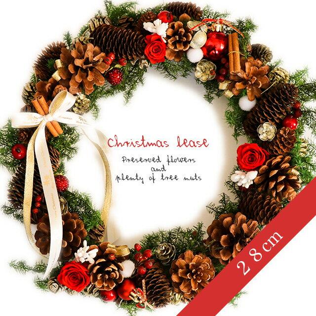 28cm!!プリザーブドフラワーと木の実たっぷり*クリスマスリース【送料無料】【楽ギフ_包装】