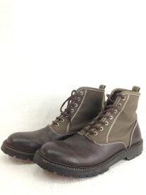 COMME des GARCONS HOMME コムデギャルソンオム 2003AW キャンバスレザー ブラウン カーキ 26.5cm ブーツ/メンズ・ブーツ【中古】[☆3]