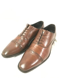 ISETAN MEN'S 伊勢丹メンズ 革靴 レザー ビジネスシューズ ストレートチップ メンズ ブラウン/メンズ・ブーツ【中古】[☆3]