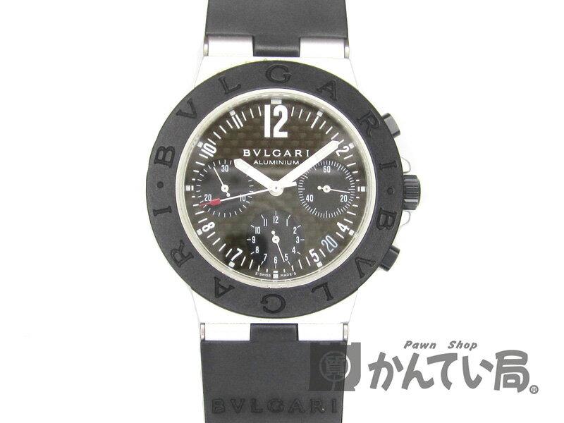 BVLGARI 【ブルガリ】 AC38TA アルミニウム クロノグラフ オートマチック 自動巻き メンズ ラバーベルト 黒文字盤 腕時計 USED-B 【中古】 質屋 かんてい局名古屋西店