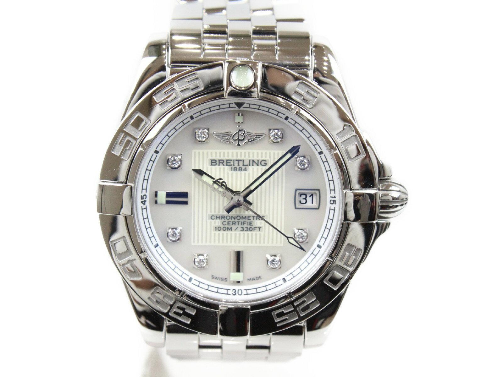 【ポリッシュ済み】BREITLING ブライトリング ギャラクティック32 A71356 SS ステンレススチール 8Pダイヤモンド シェル文字盤 デイト 100m防水 レディース 腕時計 【中古】