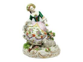 sitzendorf ジッツェンドルフ花畑と羊と戯れる女性 陶器置物 お人形ギフト プレゼント【中古】