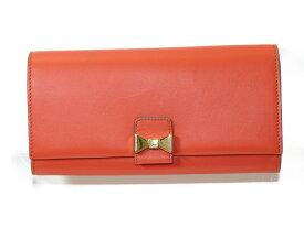 【特上品】CHLOE クロエ ボタン式長財布 リボン 3P0666-889 レザー オレンジ ゴールド金具 レディース 【中古】