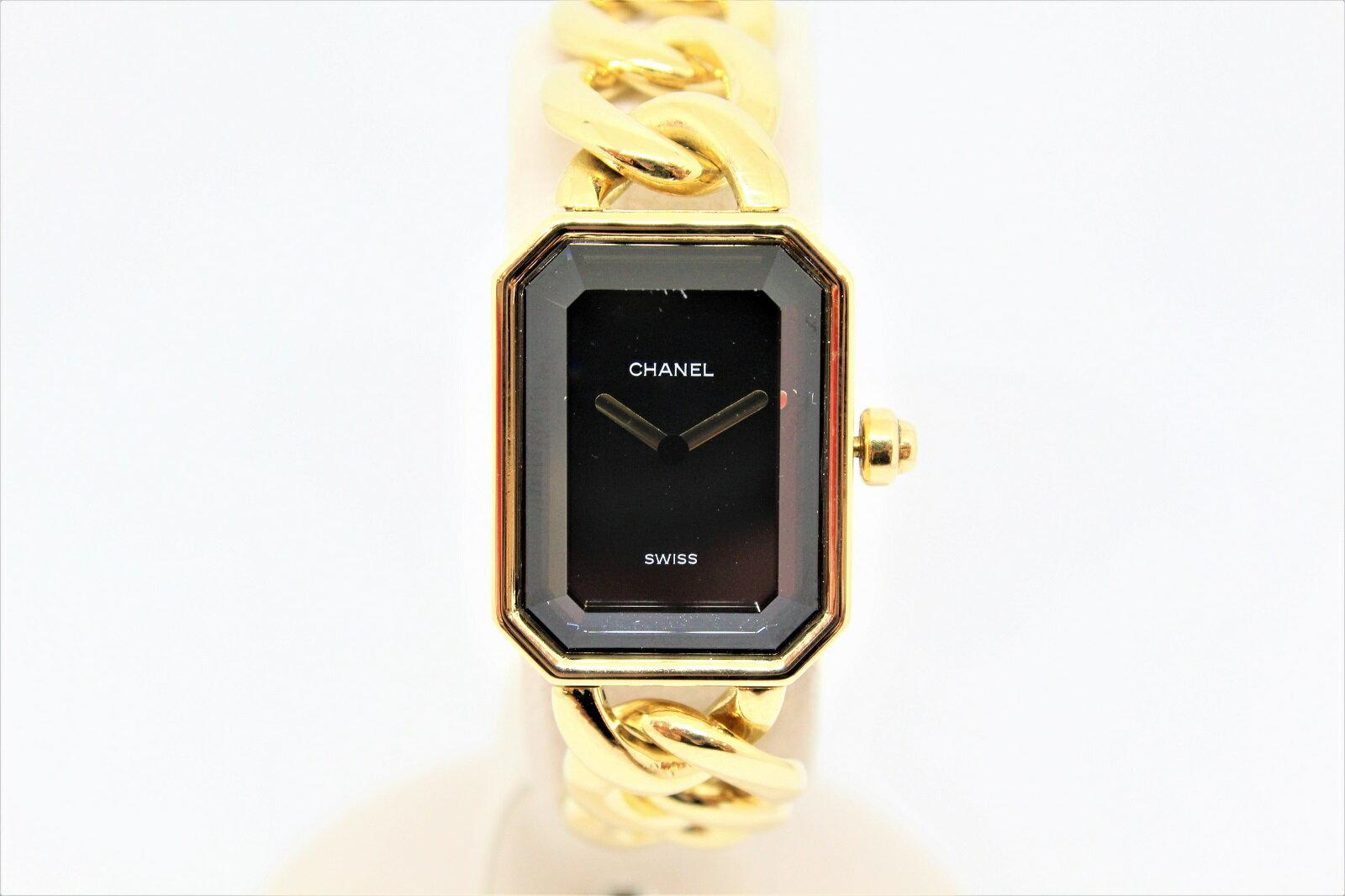 【K18】CHANEL シャネル プルミエール H0003 Lサイズ YG イエローゴールド ブレスレット レディース 腕時計 ウォッチ 【中古】