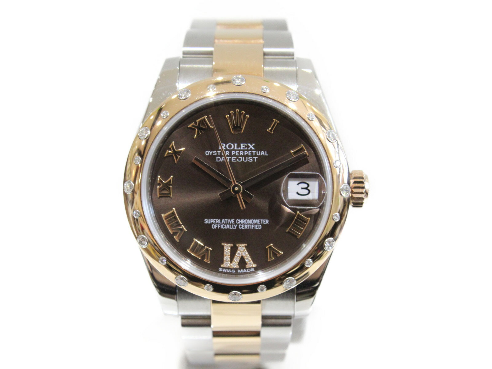 ROLEX ロレックス デイトジャスト31 178341 2015年製 31mm ピンクゴールド ダイヤ入り 自動巻き ボーイズ レディース 腕時計【中古】