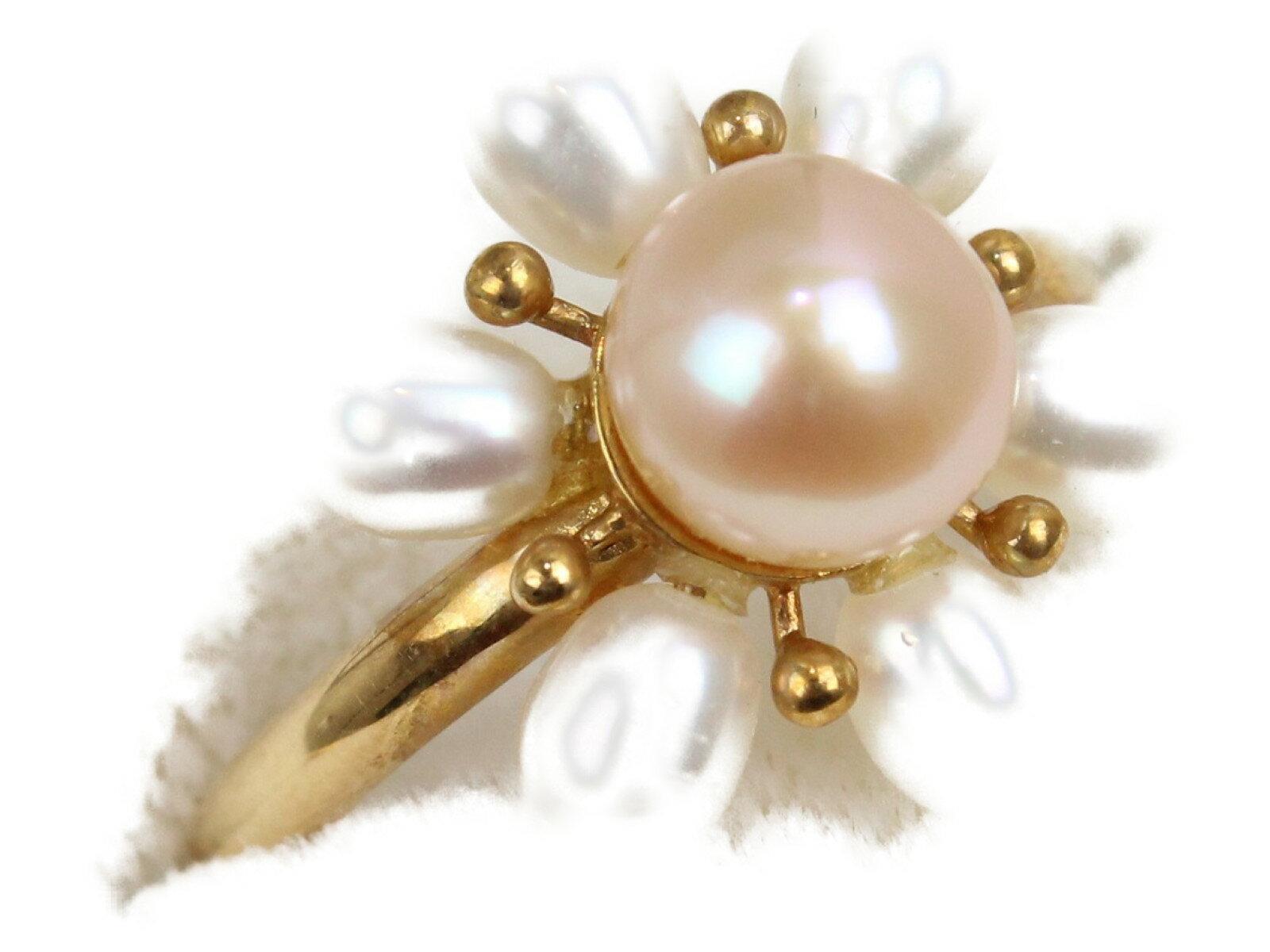 真珠お花モチーフリングパール K18 2.8g 9号カワイイ レディース ギフト包装可【中古】