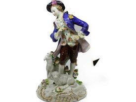 sitzendorf 紳士と羊 陶器置物 お人形ギフト プレゼント【中古】
