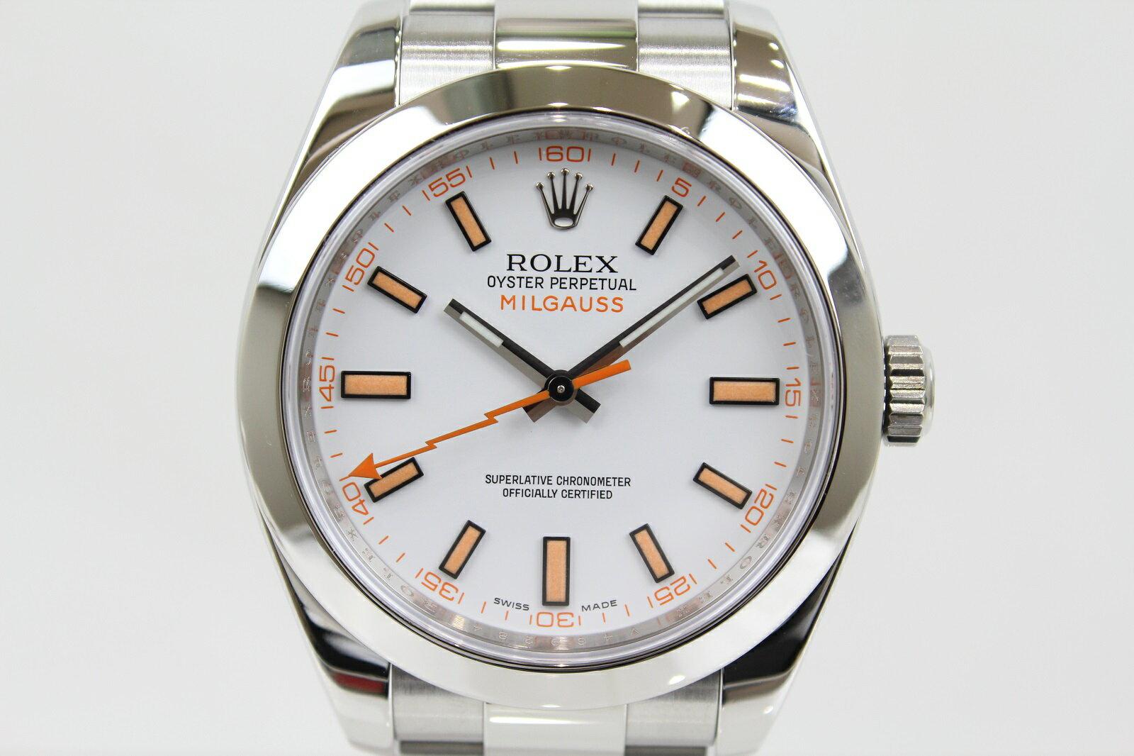 【ギャラ有】ROLEX ロレックス ミルガウス 116400 V番 自動巻き SS ステンレススチール ホワイト メンズ 腕時計【中古】