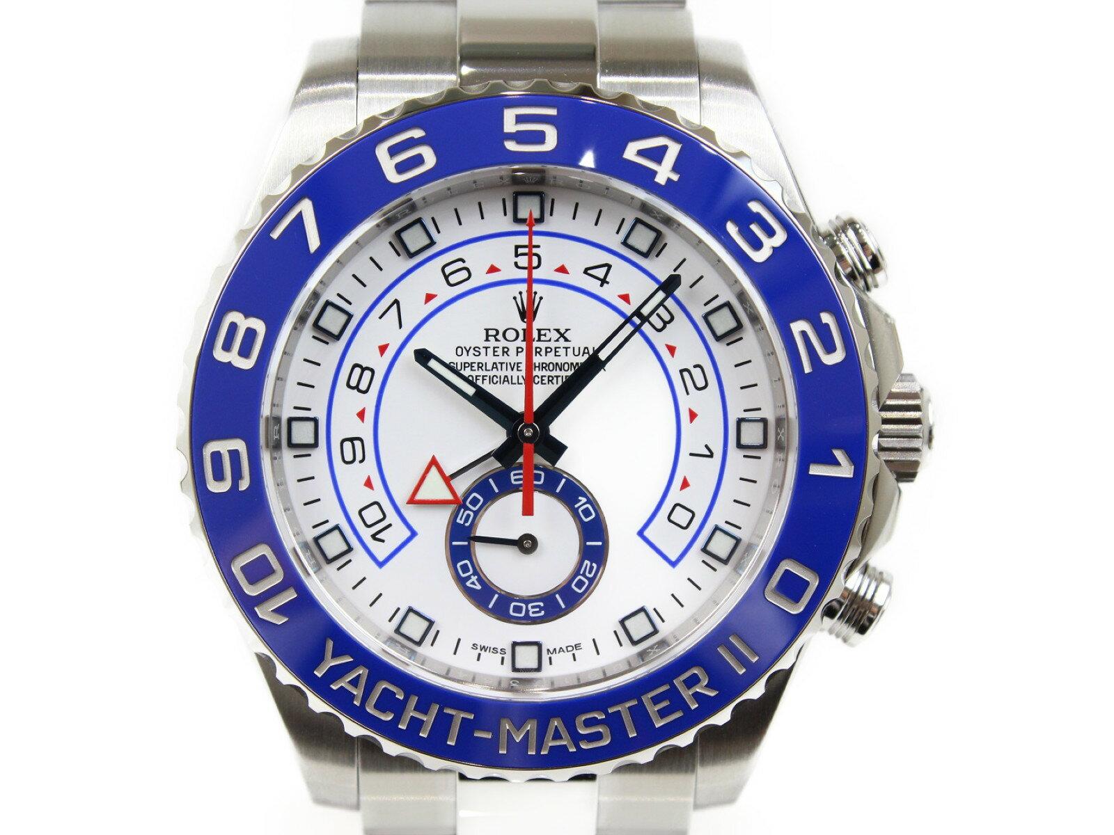 【未使用品】ROLEX ロレックス ヨットマスターII 116680 ランダム 自動巻き 回転ベゼル クロノグラフ SS ステンレススチール ホワイト ブルー メンズ 腕時計【中古】