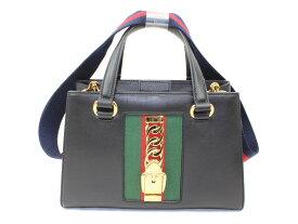 GUCCIシルヴィ 4603812WAYバッグ 赤×緑×黒 コンパクトハンドバッグ ショルダーバッグレザー ギフト包装可能【中古】