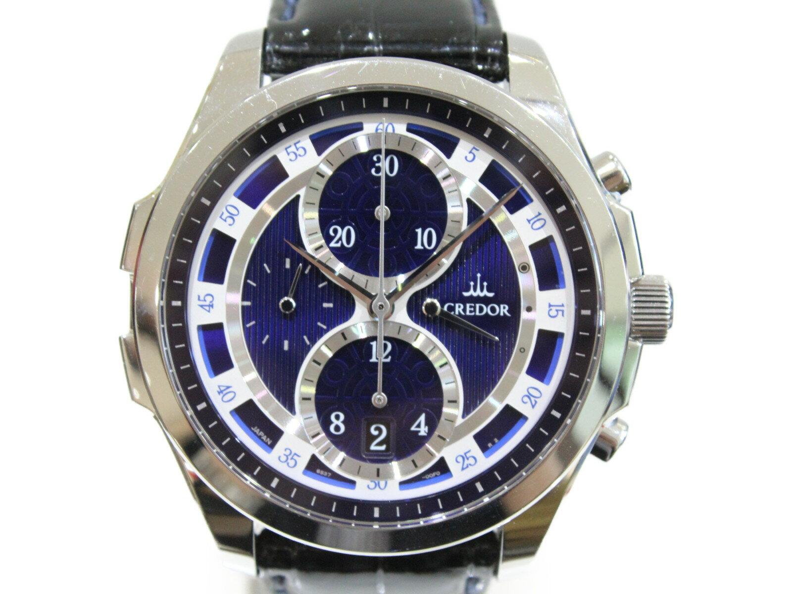 SEIKO セイコー CREDOR クレドール シグノ メカニカル クロノグラフ GCBK979  自動巻き デイト パワーリザーブ SS ステンレススチール 革ベルト ブルー ホワイト メンズ 腕時計【中古】
