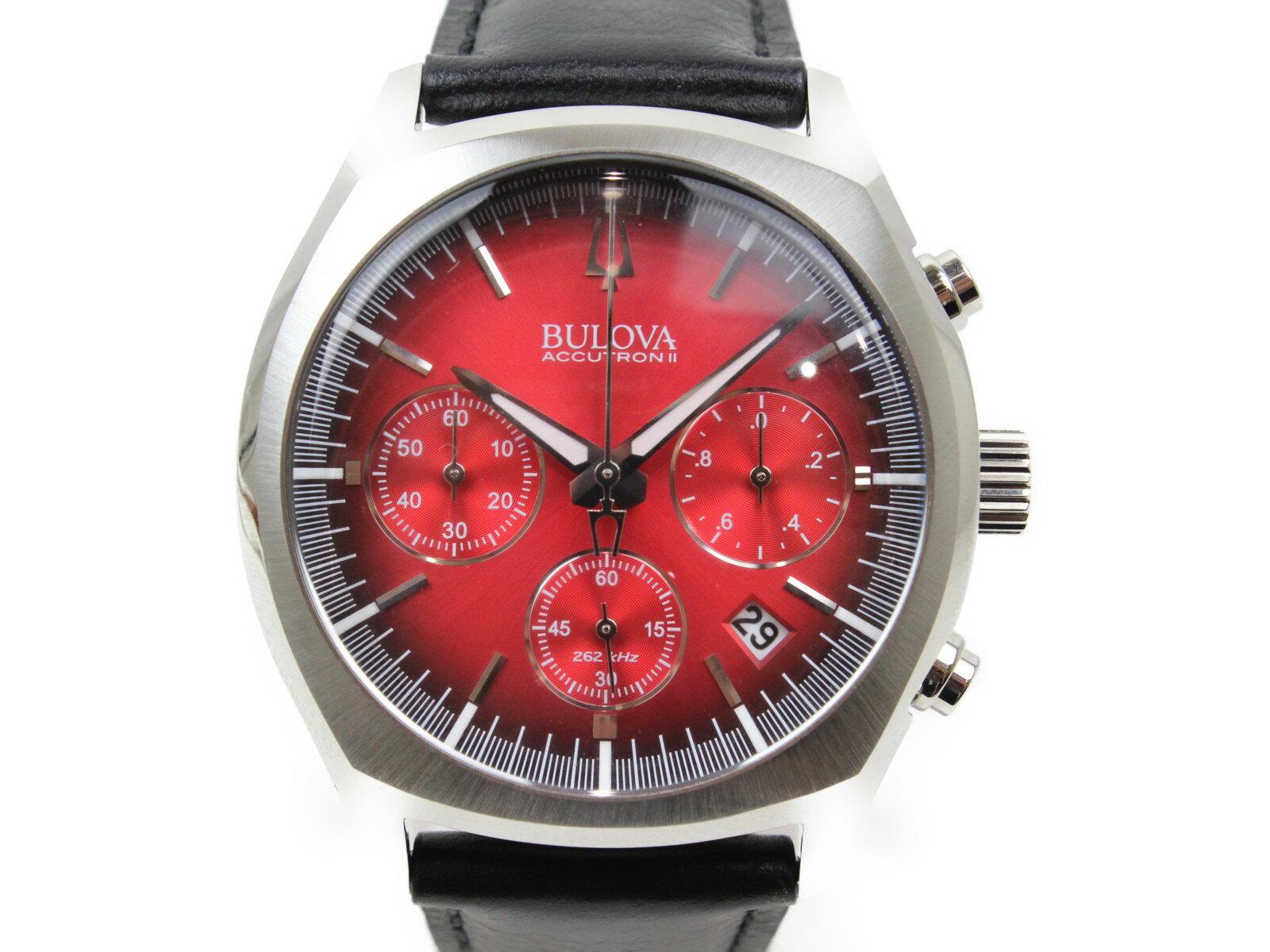 BULOVA ブローバ アキュトロンII 96B238 クオーツ デイト クロノグラフ SS ステンレススチール 革ベルト レッド ブラック メンズ 腕時計【中古】