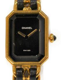 CHANEL プルミエール H0001 ステンレススチール SS GP ゴールド レザー 革 クォーツ ブラック 二針 レディース ウィメンズプレゼント 腕時計 【中古】