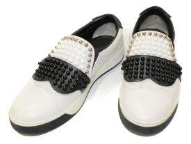 FENDI ホワイトレザースタッズ付シューズ ホワイト×ブラック レザー メンズ ユニセックス ブランド 靴 シューズ 【中古】
