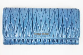 【未使用】MIU MIU長財布 ファスナー付き財布 ボタン5M1109 レザー MATELASSE'LUXブルー 青 シルバー金具 OCEANO レディース【中古】
