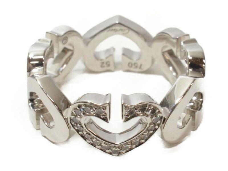 CARTIER カルティエ Cハートリング 指輪 K18WG 750 ホワイトゴールド/ダイヤモンド 52 12号 4月誕生石 純正ケースつき【中古】