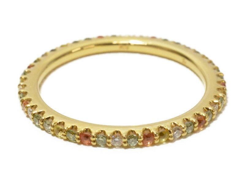 Ponte Vecchio ポンテヴェキオ K18YG グリーンダイヤリング 18金 イエローゴールド ダイヤモンド サファイヤ 指輪【中古】