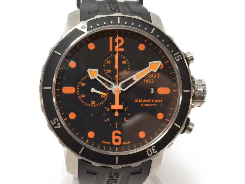 TISSOT ティソ T066427A シースター 腕時計 クロノグラフ 自動巻き ラバーベルト ブラック×オレンジ デイト メンズ【中古】