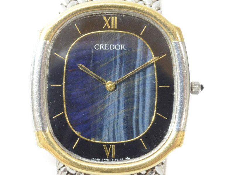 SEIKO セイコー CREDOR 7770-5140 クレドール クオーツ ブルー×ブラック K18 メンズ 腕時計 【中古】