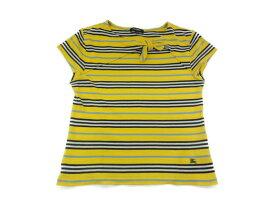 BURBERRY バーバリー ボーダー Tシャツ 半袖 リボン イエロー/ネイビー/ホワイト/ブルー 160A キッズ レディース【中古】