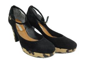 STRAWBERRY・FIELDS ストロベリーフィールズ ウェッジソールサンダル レディース 靴 ブラック レパード柄 23.0 【中古】