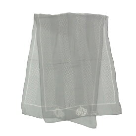 Christian Dior クリスチャンディオール ストール シルク 絹100% グレー ドット柄 レディース【中古】