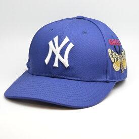 GUCCI グッチ 538565 ベースボールキャップ バタフライ 刺繍 NY 帽子 ブルー/ホワイト 蝶 【中古】
