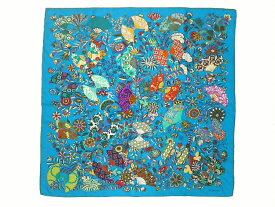 HERMES エルメス カレ90 大判スカーフ 「 Fleurs et papillons de tissus(花咲く織物) 」柄 シルク100% 扇子 花柄【程度B】【中古】