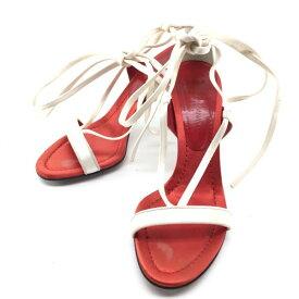 DOLCE&GABBANA ドルチェ&ガッバーナ ハイヒール パンプス ミュール サンダル サイズ36 1/2 約24cm ホワイト レッド 靴 くつ クツ 女性 レディース 管理RY18001788