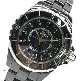 限定 CHANEL シャネル J12 H2679 12Pエメラルド 10週年記念 腕時計 ボーイズ 黒文字盤 33mm メンズ レディース 管理RY19000166
