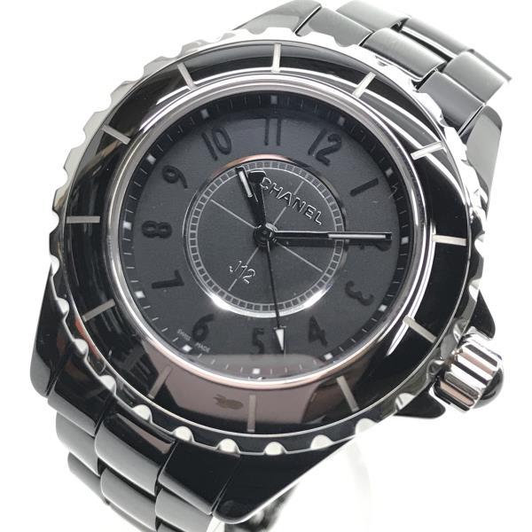 CHANEL シャネル J12 インテンスブラック H3828 黒 クォーツ 電池式 3針 アラビア文字 女性 レディースウォッチ 腕時計 管理DH19000706