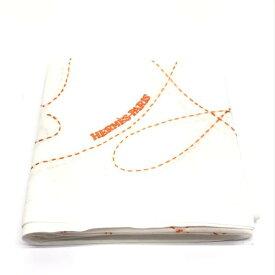 未使用 HERMES エルメス ハンカチ ハンカチーフ ハンドタオル コットン100% 白×オレンジ 馬柄 刺繍 ブランド 管理RY19001589