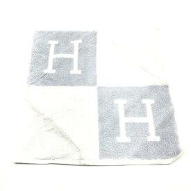 未使用 HERMES エルメス ハンドタオル ハンカチ 白×青 綿100% 箱付き ギフト プレゼント 2013年購入 メンズ レディース管理RY19001728