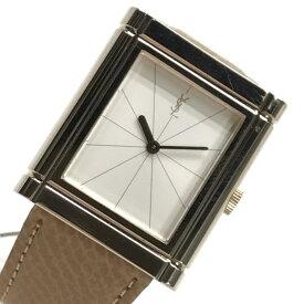 Y.S.L イヴサンローラン 腕時計 スクエアケース 手巻き 白文字盤 2針 アナログ レザーベルト(社外) レディース 婦人雑貨 管理RY19002277