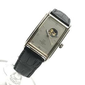 GIVENCHY ジバンシィ 腕時計 シルバー文字盤 自動巻き 3針 スクエア アナログ レザーベルト レディース 婦人雑貨 管理RY19002271