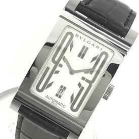 ■BVLGARI ブルガリ 腕時計 RT45S レッタンゴロ メンズ 自動巻き AT ステンレス SS スクエア 白文字盤 デイト 社外ベルト 管理YK19002272