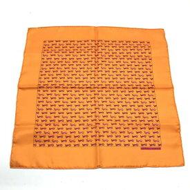 未使用 HERMES エルメス カレ45 トラ サル柄 シルク素材 オレンジ スカーフ はんかち チーフ 箱 レディース 婦人 雑貨 管理RY19004452