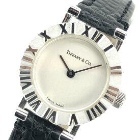 TIFFANY ティファニー Atlas アトラス レディース クオーツ シルバー SV925 SS レザーベルト 腕時計 稼働品 セミアンティーク 管理19004924